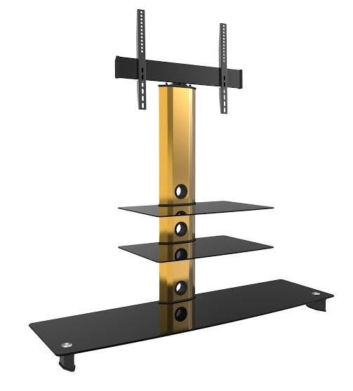 Magnificent Famous Gold TV Stands With Gold Cantilever Tv Stands With Shelves And Swivel (Image 38 of 50)