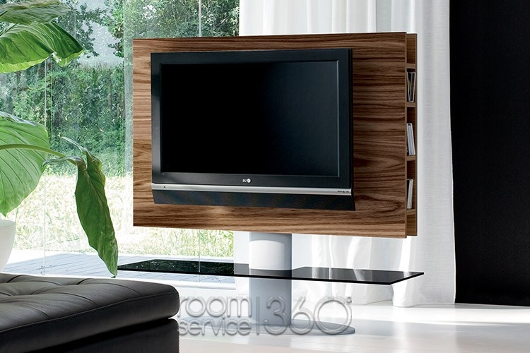 Magnificent Famous Swivel Black Glass TV Stands With Regard To Cortes Modern Swivel Tv Stand Tonin Casa Made In Italy (View 9 of 50)