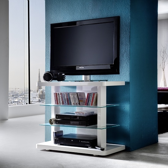 Magnificent Famous White Glass TV Stands Throughout Menial Lcd Tv Stand In High Gloss White With Clear Glass (Image 37 of 50)