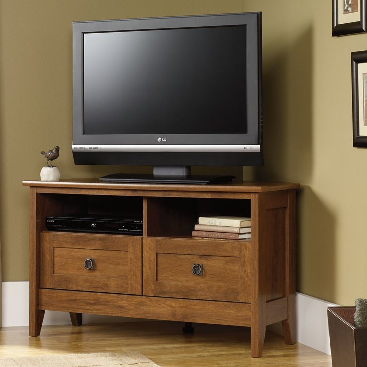 Magnificent Fashionable Brown TV Stands Pertaining To Loon Peak Clendenin Corner 393 Tv Stand Reviews Wayfair (View 30 of 45)