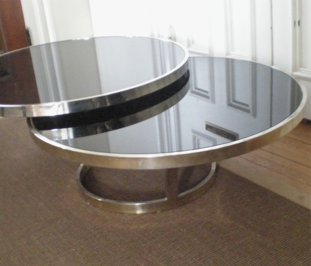 Magnificent Fashionable Chrome Glass Coffee Tables Pertaining To Black Glass Tables (Image 40 of 50)