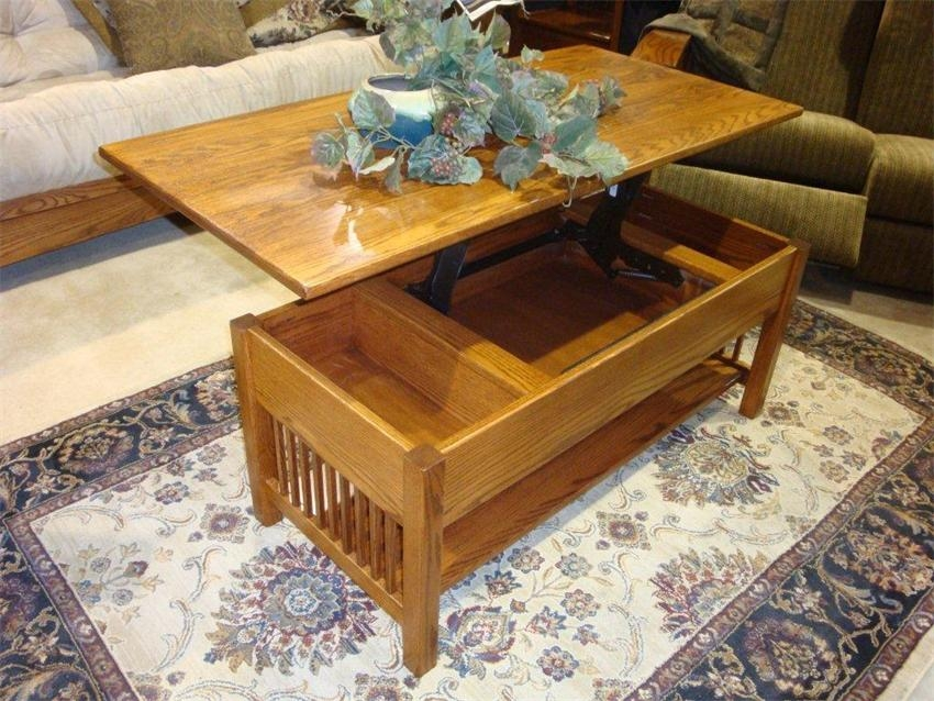 Magnificent Fashionable Coffee Table With Raised Top Regarding Classic Mission Rectangular Coffee Table With Lift Top From (Image 34 of 50)
