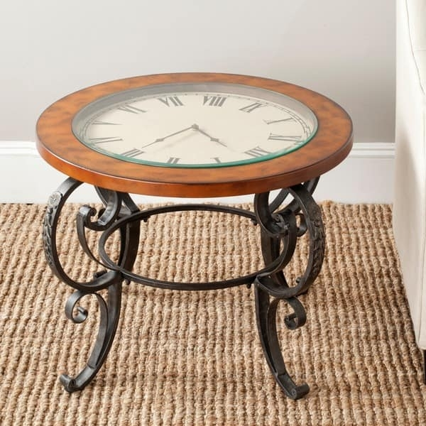 Magnificent Fashionable Coffee Tables With Clock Top Pertaining To Safavieh Linda Clock Top Dark Brown Side Table Free Shipping (Image 28 of 40)