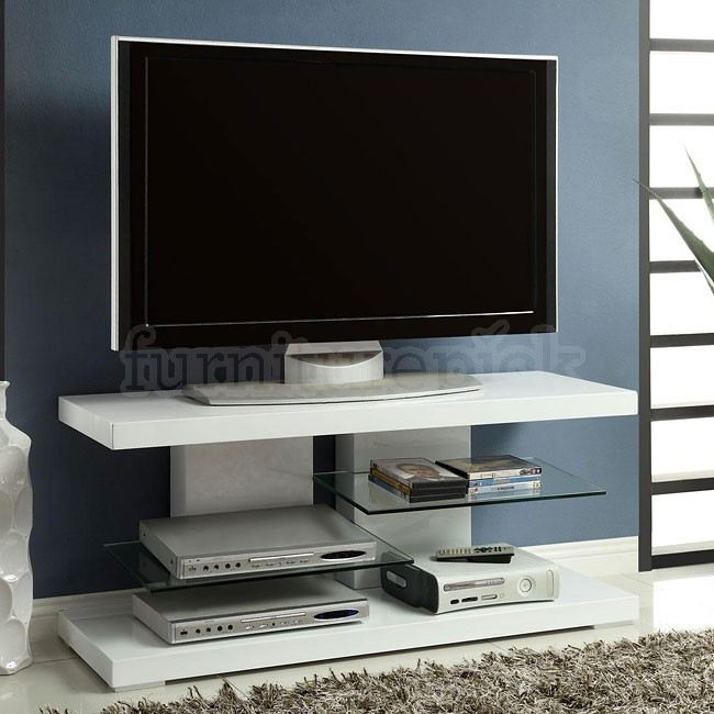 Magnificent Fashionable High Gloss White TV Stands Pertaining To High Gloss White Tv Stand W Glass Shelves Coaster Furniture (Image 31 of 50)
