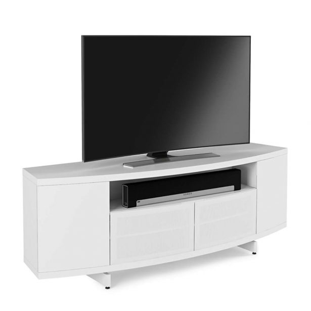 Magnificent Fashionable Modern Low Profile TV Stands Regarding Large White Media Cabinet Engineered Wood Construction 3 Open (View 39 of 50)