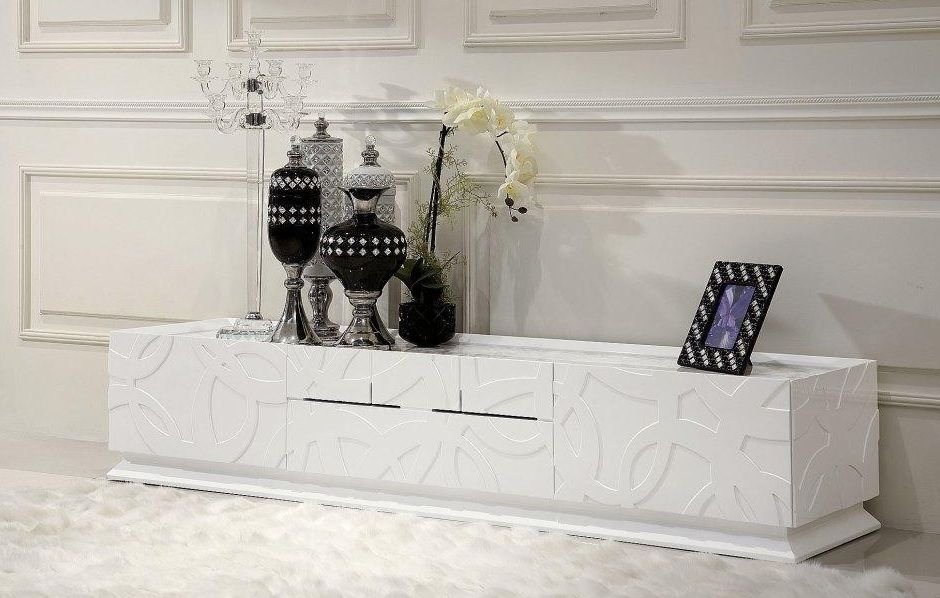 Magnificent Fashionable Modern White Lacquer TV Stands For Tv Stands For Lcd Flat Screens Plasma Media Storage Units (Image 32 of 50)