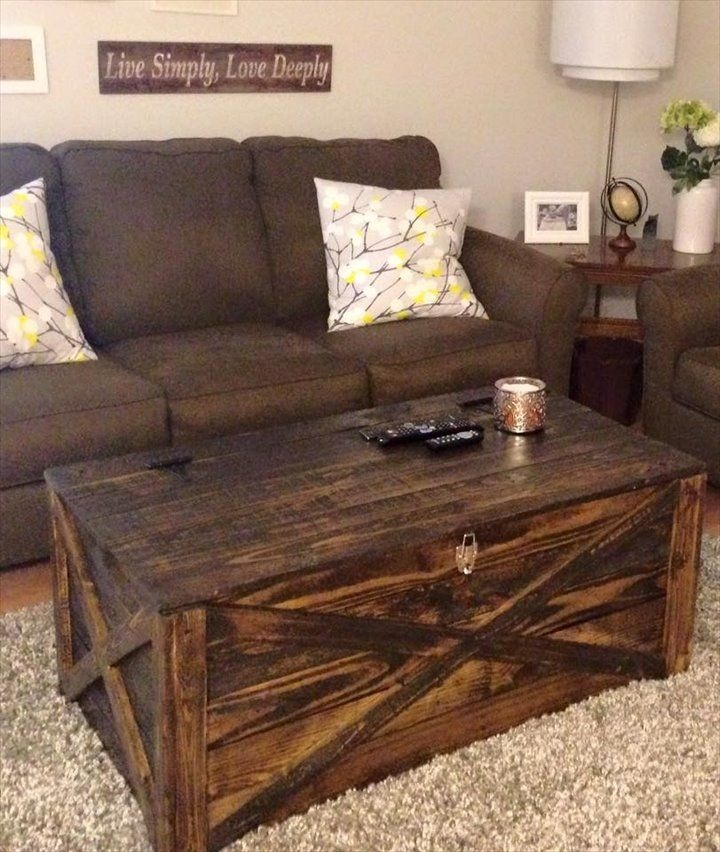 Magnificent Fashionable Storage Trunk Coffee Tables Intended For Rustic Pallet Coffee Table Or Storage Chest  (Image 42 of 50)