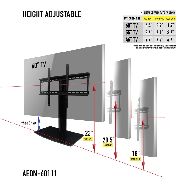 Magnificent Fashionable Wall Mount Adjustable TV Stands Within Universal Tabletop Tv Stand Swivel Height Adjustment Av (Image 41 of 50)