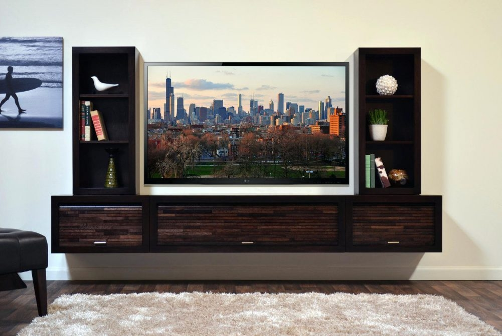 Magnificent Fashionable Wall Mounted TV Stands Entertainment Consoles In Wall Mounted Floating Tv Stand Flideco (View 5 of 50)