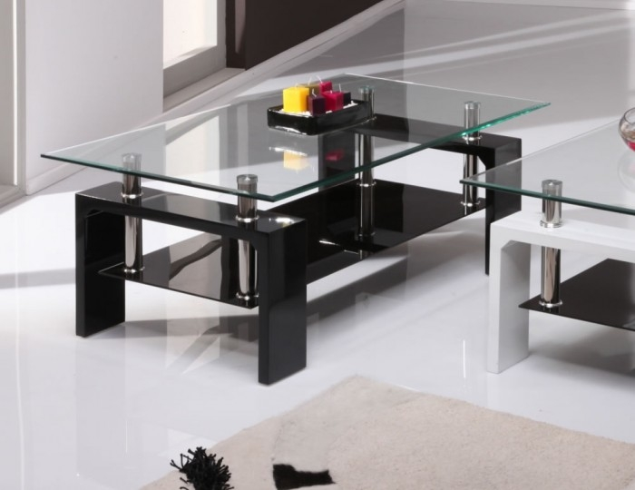 Magnificent Favorite Dark Glass Coffee Tables For Parma Black High Gloss And Glass Coffee Table 100w X 60d X 38h Cm (Image 37 of 50)
