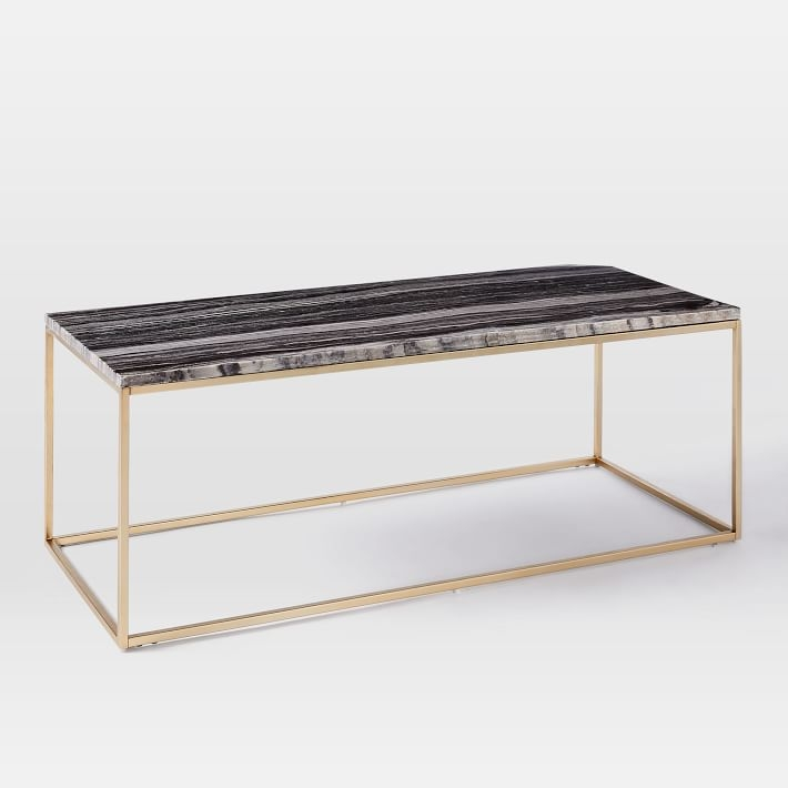 Magnificent Favorite Marble And Metal Coffee Tables Throughout Mira Coffee Table Black Marble West Elm (Image 31 of 40)
