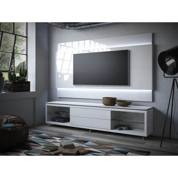 Magnificent Favorite TV Stands With LED Lights Pertaining To Manhattan Comfort Lincoln Tv Stand With Silicon Casters And (Image 34 of 50)