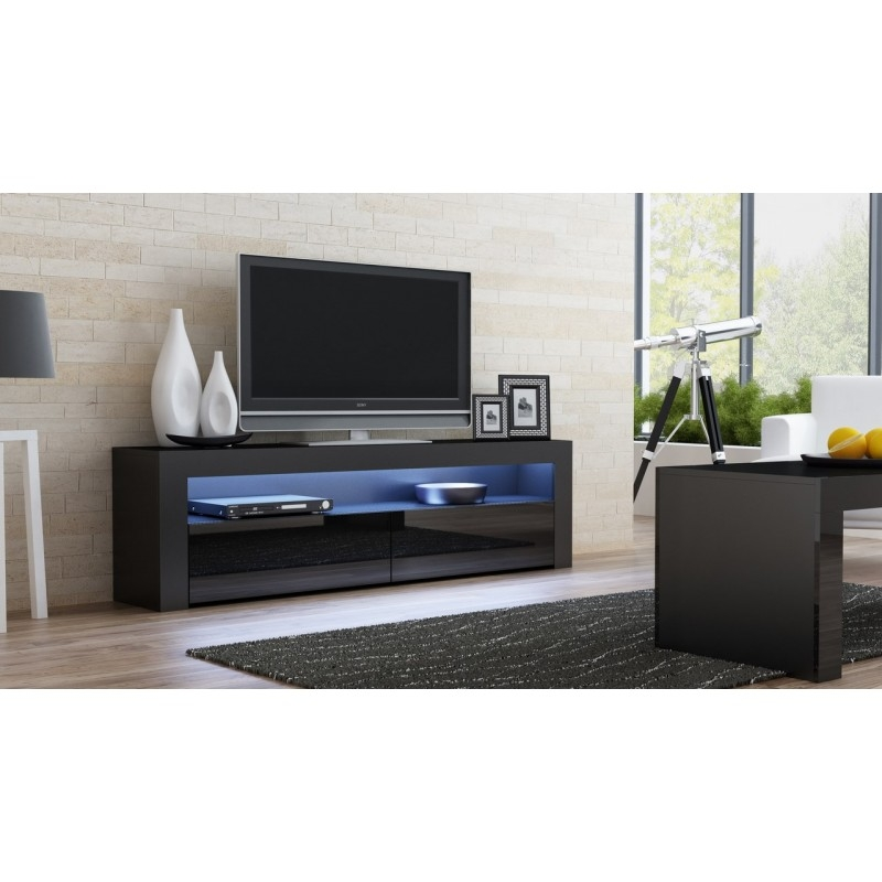 Magnificent High Quality Classic TV Stands Regarding Black Gloss Tv Stand Milano 157 Concept Muebles (View 42 of 50)