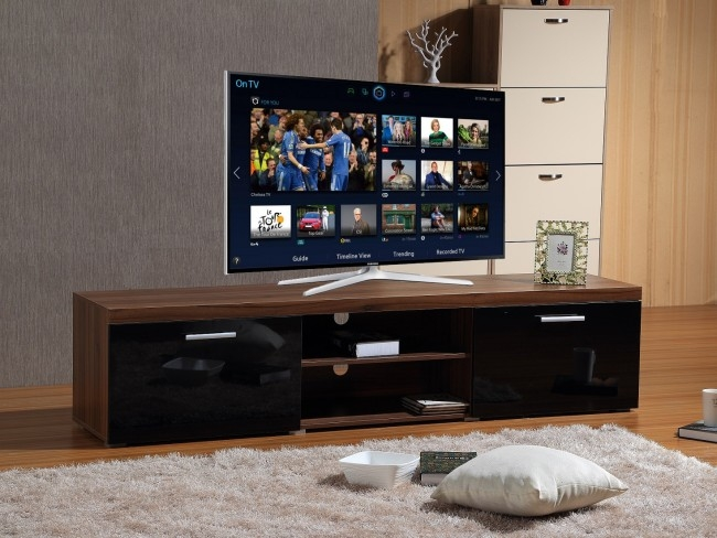 Magnificent High Quality Modern Walnut TV Stands Throughout Modern Large 2m Tv Stand Cabinet Unit With High Gloss Doors Black (View 11 of 50)