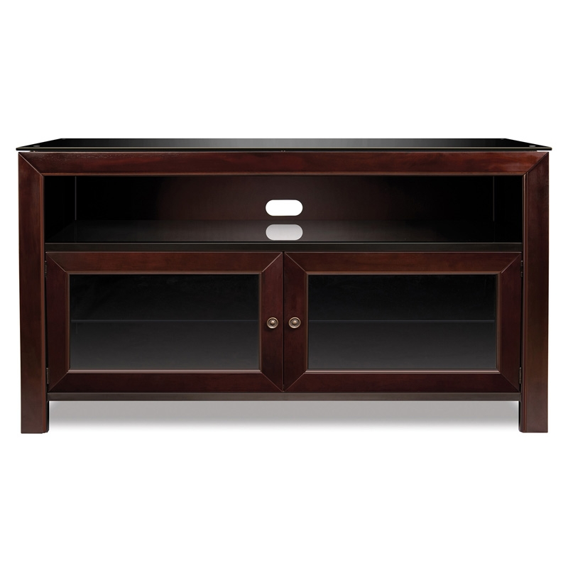 Magnificent High Quality Smoked Glass TV Stands Throughout Bello 50 3 Shelf Tv Stand Deep Mahogany Pcrichard Wmfc (View 14 of 50)