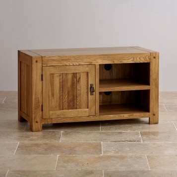 Magnificent High Quality Solid Oak TV Stands Pertaining To Quercus Rustic Solid Oak Tv Stand Oak Furniture Land (Image 32 of 50)