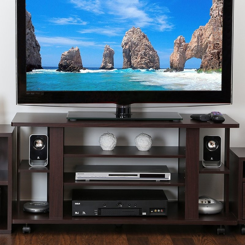Magnificent Latest 44 Swivel Black Glass TV Stands Throughout Tv Stands Under 100 Youll Love Wayfair (Image 35 of 50)
