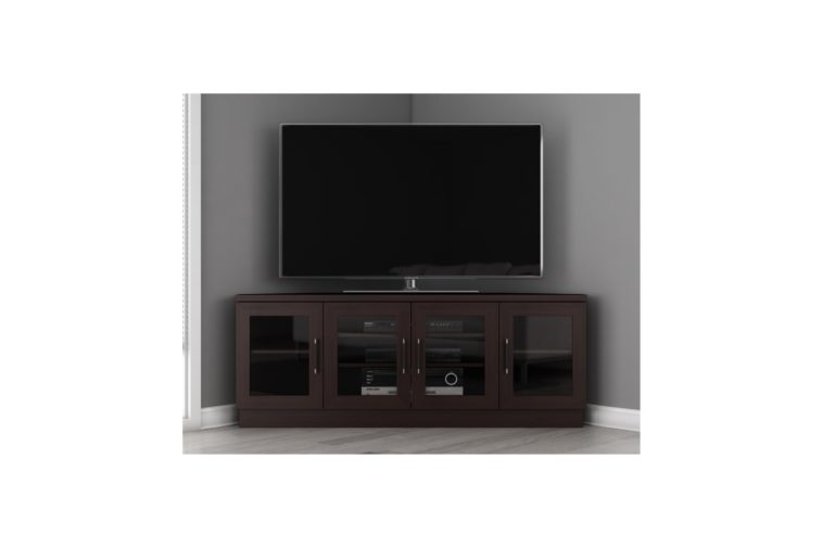 Magnificent Latest Black TV Stands With Glass Doors With Furniture Dark Brown Wooden Corner Tv Stand With Storage And (Image 26 of 50)