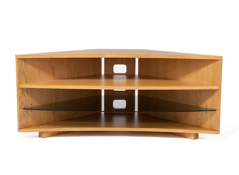 Magnificent Latest Corner Oak TV Stands Regarding Optimum Cave Corner Oak Tv Stand Wood Tv Stands Audiovisual (Image 33 of 50)