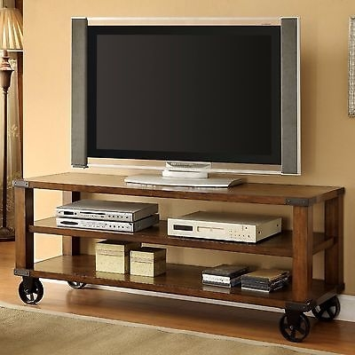 Magnificent Latest Industrial TV Stands Throughout Industrial Tv Stand Wheeled Rustic Entertainment Center Media (Image 34 of 50)