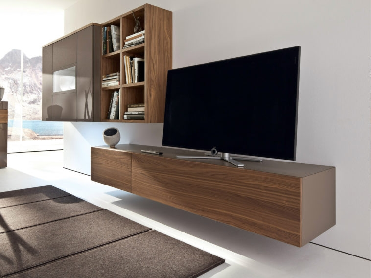 Magnificent Latest Led TV Cabinets Pertaining To Furniture Brown Polished Wooden Wall Mount Tv Cabinets With (Image 35 of 50)
