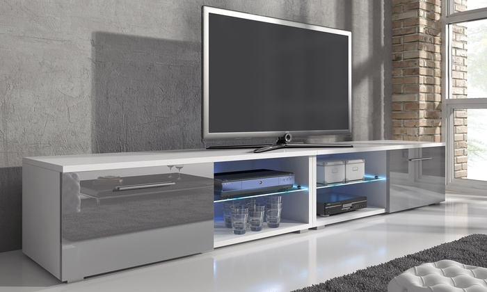 Magnificent Latest Led TV Cabinets Throughout Samuel Tv Cabinet With Led Groupon Goods (Image 36 of 50)