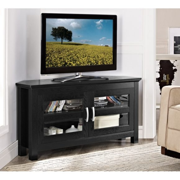 Magnificent Latest Modern Corner TV Stands With Regard To Furniture Brown Wooden And Clear Glass Corner Tv Stand With Wood (View 30 of 50)