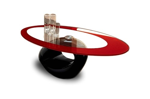 Magnificent Latest Red Gloss Coffee Tables With Moda Red Ring Glass Top Black Full Gloss Coffee Table Amazonco (Image 25 of 40)