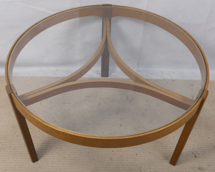 Magnificent Latest Retro Teak Glass Coffee Tables Regarding Retro Light Teak Circular Glass Top Coffee Table Nest Of Tables (View 42 of 50)
