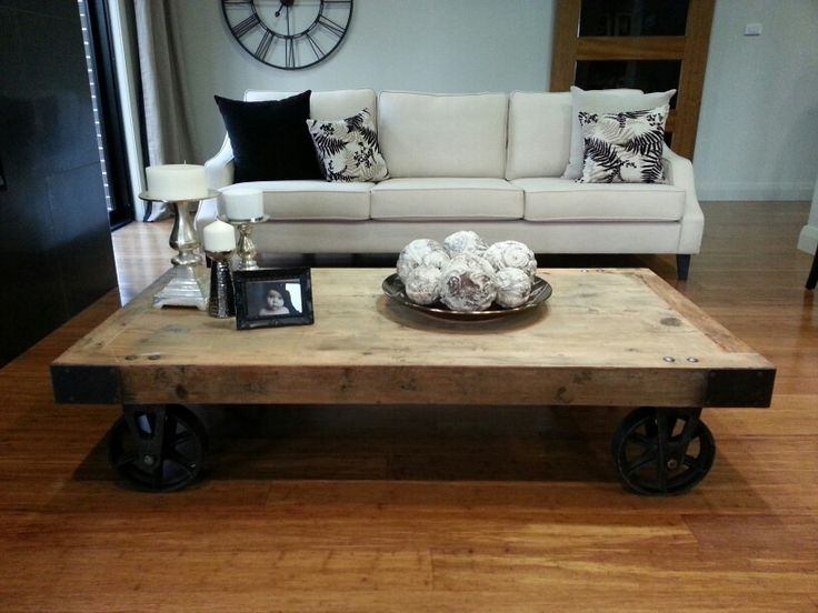 Magnificent Latest Rustic Coffee Table With Wheels Throughout Coffee Table Rustic Coffee Table With Wheels On Livingroom Home (Image 33 of 50)