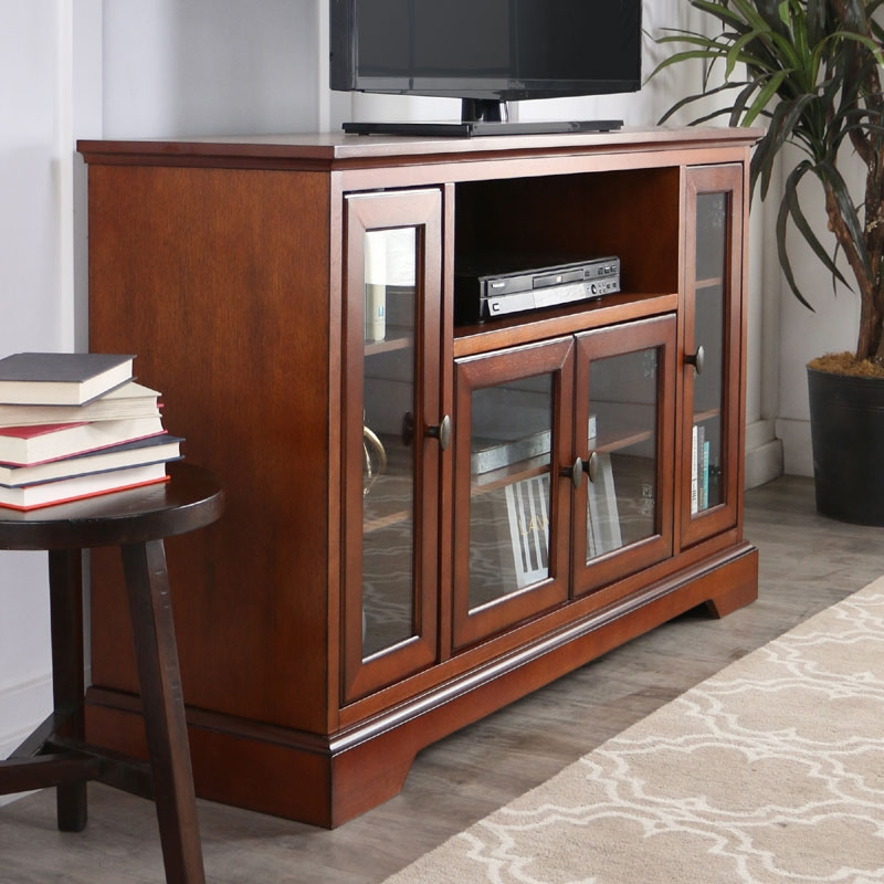 Magnificent Latest Rustic TV Cabinets Within Walker Edison Antique Style Highboy 55 Inch Tv Cabinet Rustic (Image 36 of 50)
