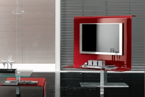 Magnificent New Black And Red TV Stands Regarding Vista Modern Plasma Tv Stand Tonin Casa In Red Black Green (View 27 of 50)