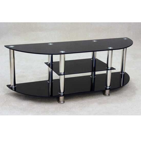 Magnificent New Black Glass TV Stands Throughout Bizet Black Glass Tv Stand 17558 Furniture In Fashion (View 4 of 50)