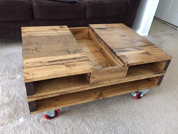 Magnificent New Coffee Tables With Box Storage Intended For Pallet Coffee Table With Storage And Wheels 101 Pallets (Image 41 of 50)