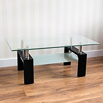 Magnificent New Elise Coffee Tables With Home Discount Elise Rectangular Glass Coffee Table Black Amazon (View 17 of 40)