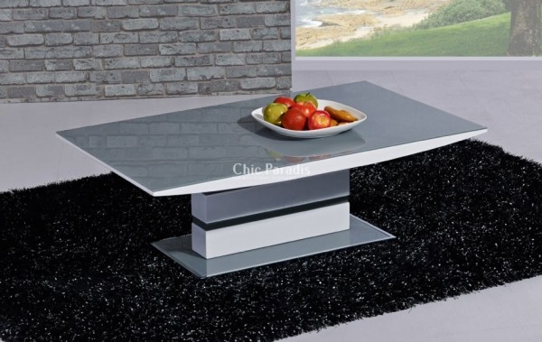 Magnificent New Grey Coffee Tables Pertaining To Buy Modern White Gloss Coffee Table With Black Or Grey 55 Off (View 23 of 50)