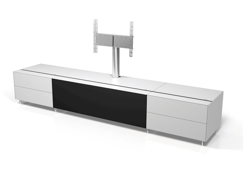 Magnificent New Large White TV Stands Within Spectral Cocoon Co1000 Gloss White Tv Cabinet W Tv Bracket (View 18 of 50)