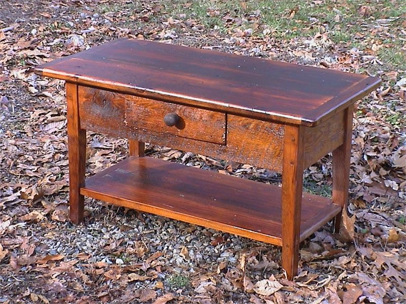 Magnificent New Small Coffee Tables With Frazzleberries Small Barnwood Coffee Table With Drawer And Shelf (View 27 of 50)