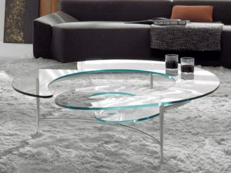 Magnificent New Spiral Glass Coffee Table Regarding 15 Contemporary Glass Coffee Table Designs Rilane (Image 39 of 50)