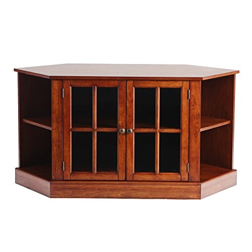 Magnificent New Walnut Corner TV Stands Pertaining To Amazon Thomas Corner Media Stand Walnut Kitchen Dining (Image 41 of 50)