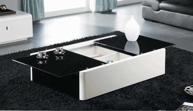 Magnificent New White Coffee Tables With Storage Inside Modern Black And White Coffee Table With Storage Aosta Modern (View 12 of 50)