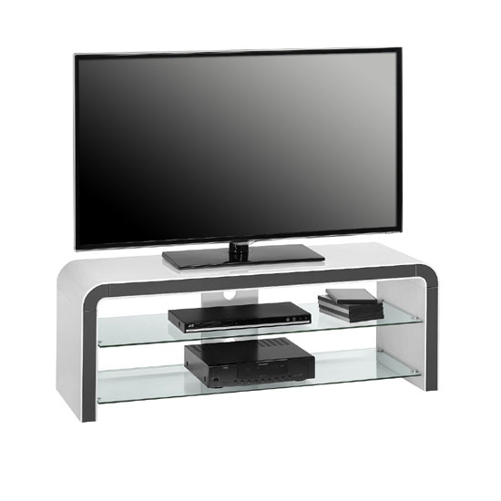 Magnificent New White Glass TV Stands Pertaining To Kaira White High Gloss Lcd Tv Stand With Clear Glass (Image 38 of 50)