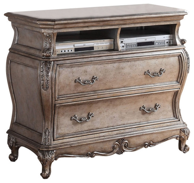 Magnificent Popular Antique Style TV Stands Regarding Acme Chantelle Old World Style Tv Console Antique Platinum (Image 34 of 50)
