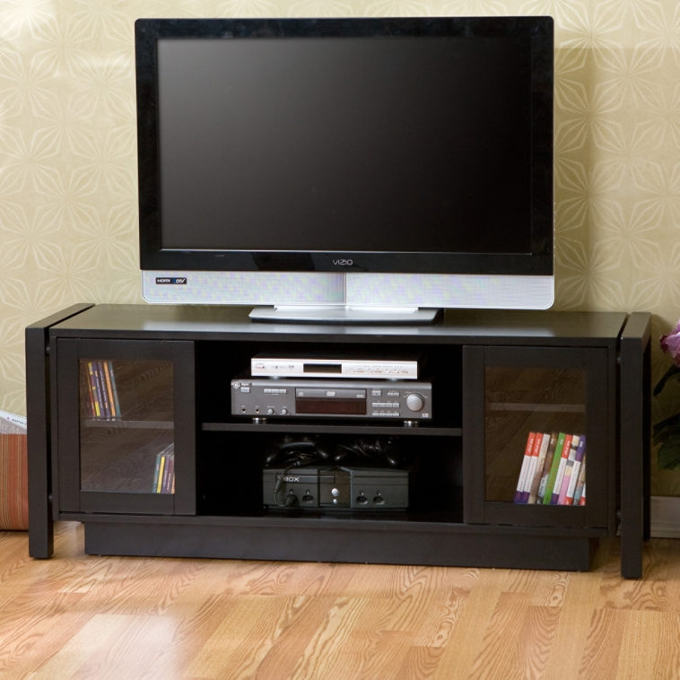Magnificent Popular Black TV Stands With Glass Doors Inside Furniture Large Media Console Using Black Wooden And Glass Door (Image 27 of 50)