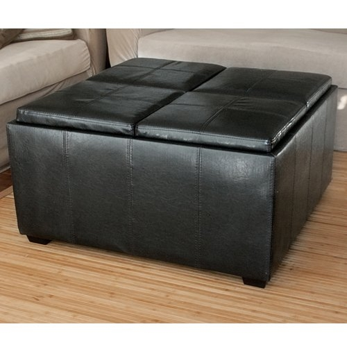 Magnificent Popular Brown Leather Ottoman Coffee Tables With Storages For Amazon Best Choice Products Leather Ottoman With 4 Tray Tops (Image 25 of 40)