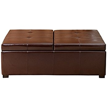 Magnificent Popular Brown Leather Ottoman Coffee Tables With Storages For Amazon Best Selling Alfred Brown Leather Storage Ottoman (Image 26 of 40)