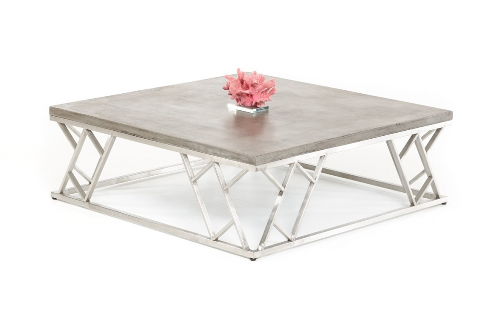 Magnificent Popular Chrome Coffee Tables Within Concrete Chrome Coffee Table Modern Furniture Brickell Collection (Image 34 of 50)