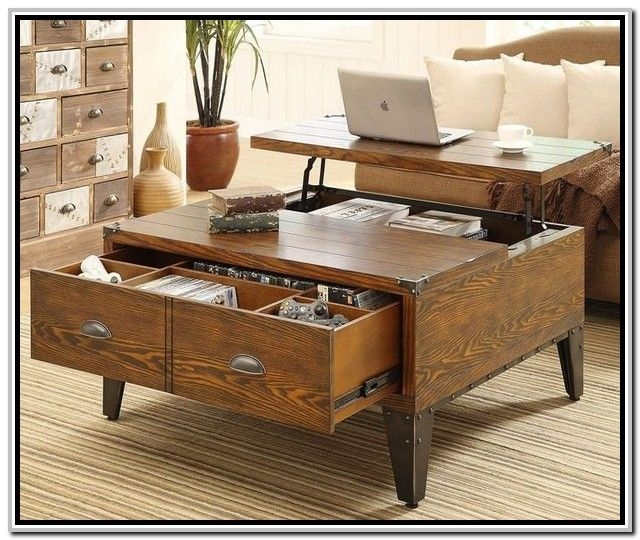 Magnificent Popular Desk Coffee Tables With Regard To Coffee Table Astounding Lift Top Trunk Coffee Table Square Lift (Image 35 of 50)