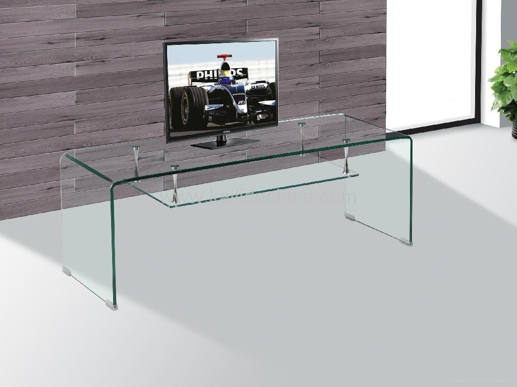 Magnificent Popular Glass TV Cabinets With Regard To Bent Glass Tv Stand For Glass Furniture F 008 Kailide China (Image 36 of 50)