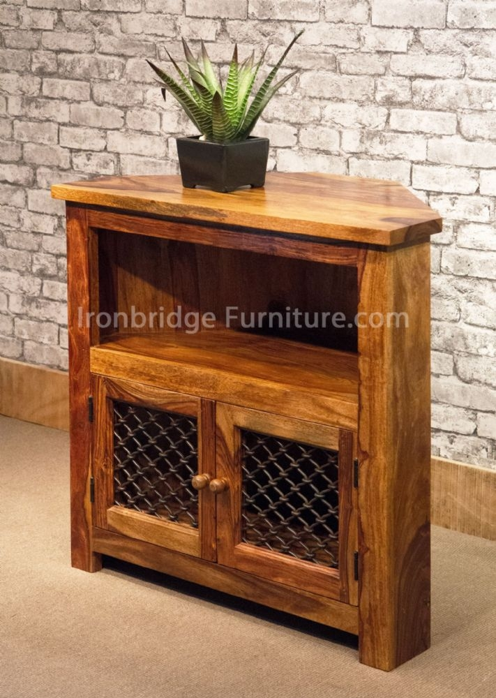 Magnificent Popular Sheesham TV Stands Intended For Ibf 032 Tall Corner Tv Stand 79cm Wide (Image 32 of 50)